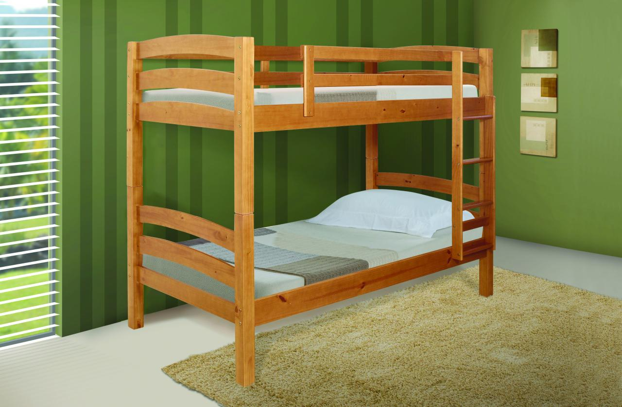 Save big on twin over twin ranch bunk bed caramel for Room design double deck