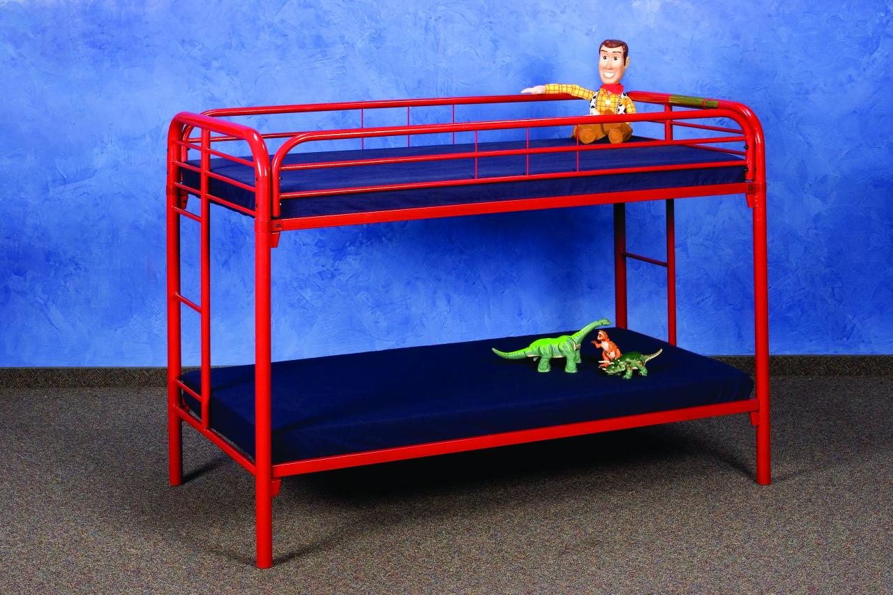 save big on twin over twin metal bunk bed red. Black Bedroom Furniture Sets. Home Design Ideas
