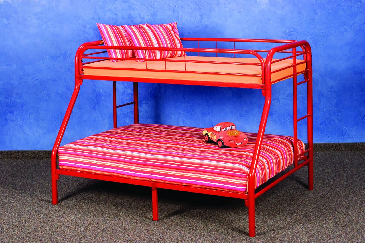 Save Big Twin Over Full Metal Bunk Bed Red