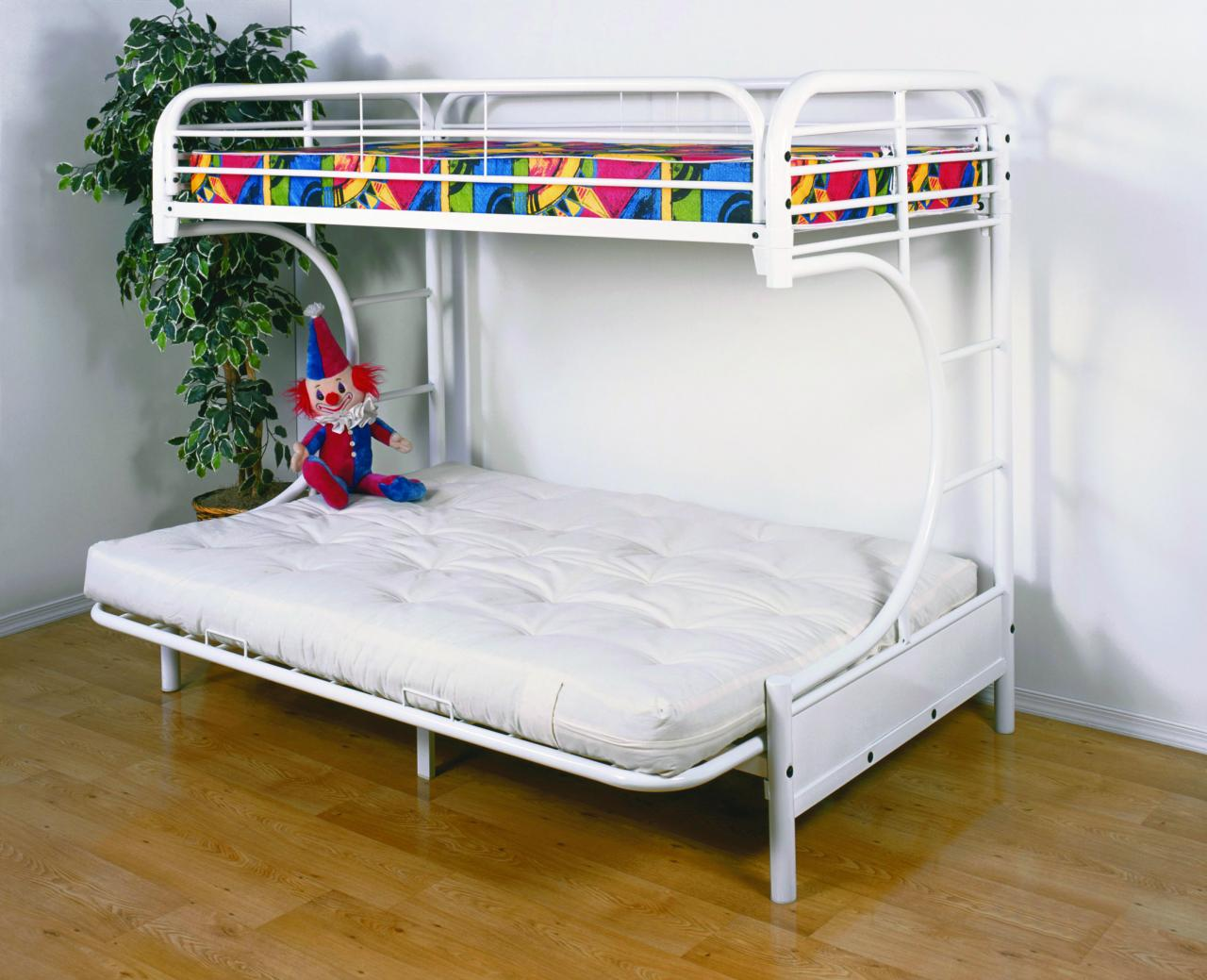 Save Big Twin Over Futon Metal Bunk Bed White