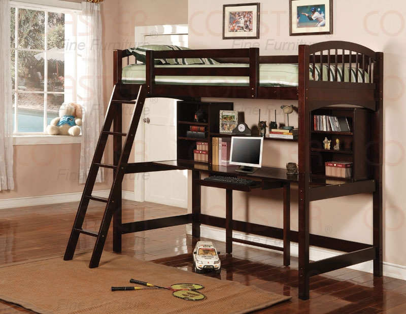 SAVE BIG on Cromer Loft Bunk Bed with Computer Desk - CAPPUCCINO