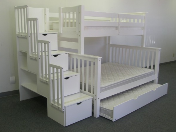 White Bunk Bed with Stairs 600 x 450