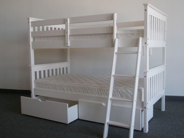 SAVE on Full over Full Bunk Bed with Drawers White