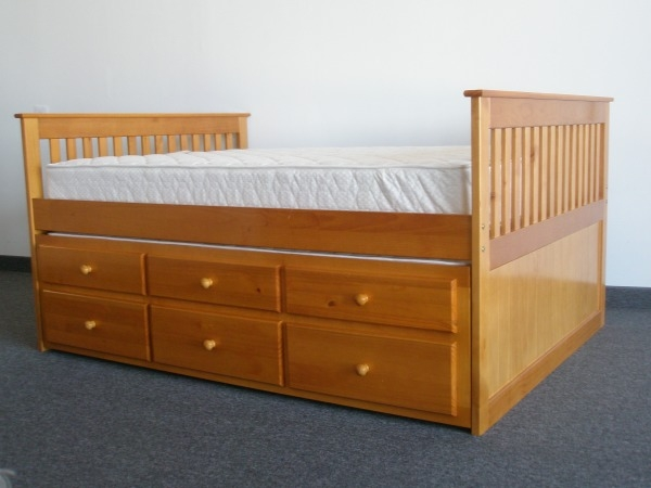 full captains bed with 3 drawer trundle caramel