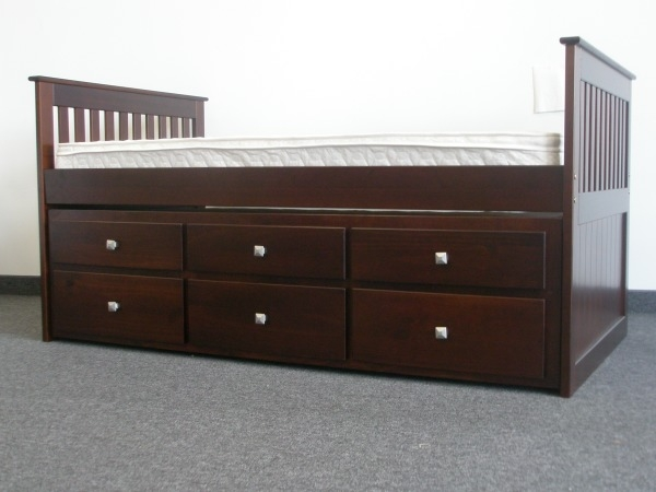 Save On Twin Captains Bed With  Drawer Trundle Dark Brown