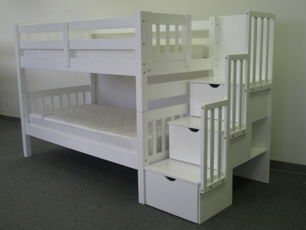Save On Stairway Bunk Bed White