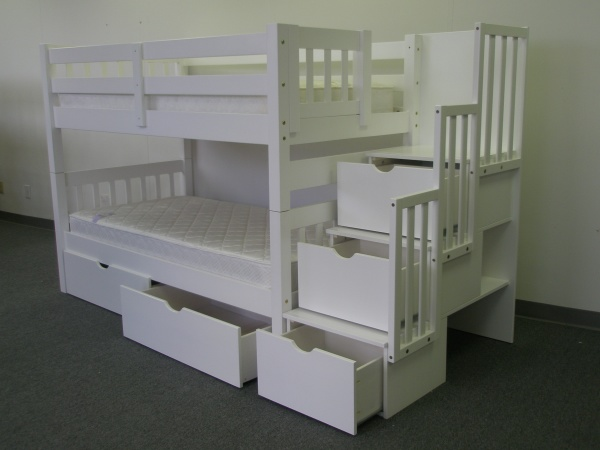 Save on stairway bunk bed with drawers white - Bunk bed with drawer steps ...