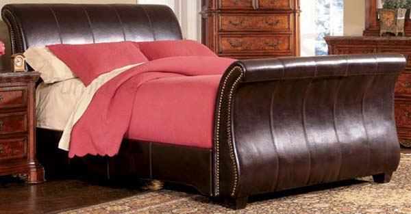 Brand-new SAVE BIG on the DARK BROWN LEATHER SLEIGH BED - QUEEN OJ08